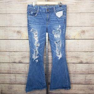 American Eagle Ripped Boho Artist Flare Jeans